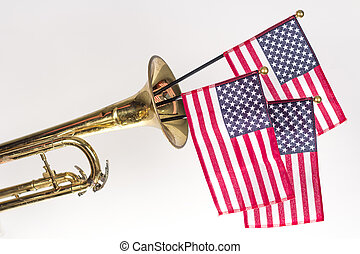 American Flag Trumpet - Three American Flags erupt from the ...