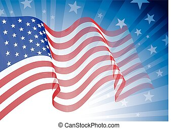 American flag - US flag, blowing in the wind. Eps8. CMYK....