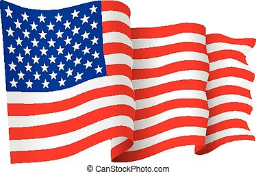 American Flag vector - USA American flag waving - vector...