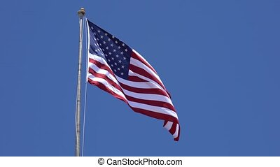 American Flag Waves in Breeze - American Flag Waves Slowly...