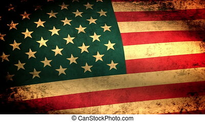 American Flag Waving, grunge look