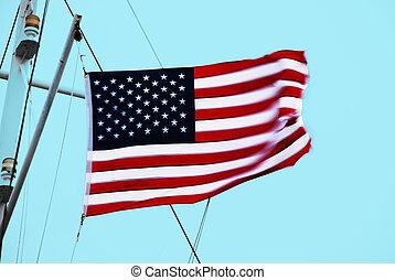 American Flag Waving in SKy