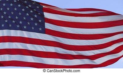American flag waving in wind video footage, 4k