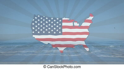 American flag waving over us map over radial stripes against view of the beach. american independence patriotic holiday concept