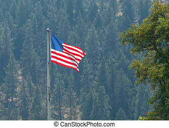 American Flag Waving Proudly on a Clear Windy Day with a Forested Hill Backdrop