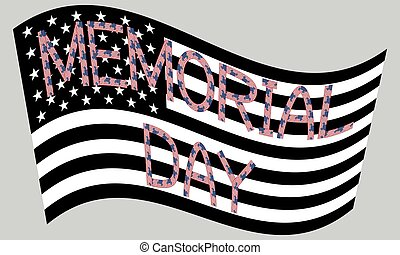 American flag waving with inscription Memorial day