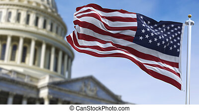 American flag waving with the US Capitol Hill