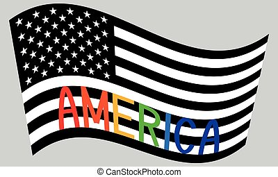 American flag waving with word America