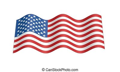 American flag wavy, 3d animation