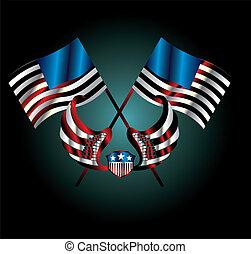 american flag wings and badge vector art