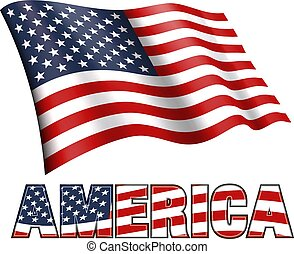 American Flag with AMERICA and Stars and Stripes