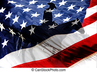 American Flag with American Cowboy - Blended Image - A ...