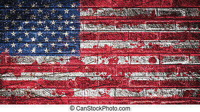 American flag with blood stains on a brick wall. USA national flag with blood splatters. Old retro grunge vintage style texture. Large image.