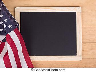 American Flag with Chalk Board