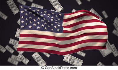 American flag with dollars