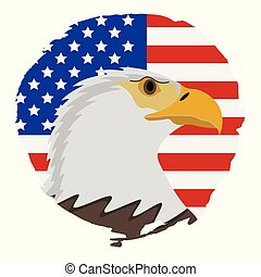 American Flag with Eagle Icon. Happy 4 th July and Independence Day. Vector illustration