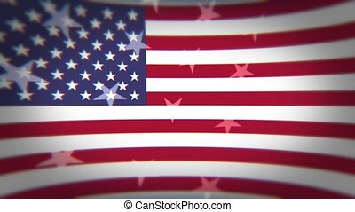 American Flag with floating stars