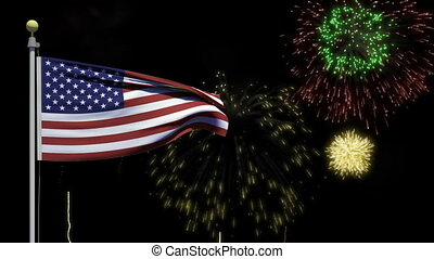 Fireworks display on Independence day/Fourth of July with a waving American flag in the foreground.