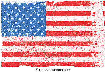 American flag with grunge texture. Vector eps8