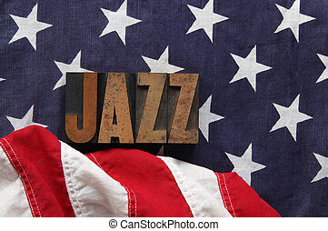 American flag with jazz word