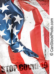 American flag with message Stop COVID-19