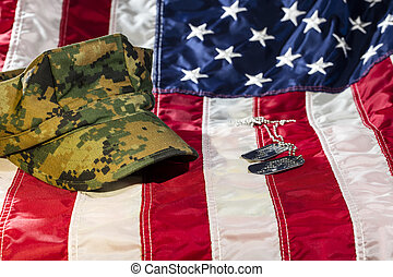 American Flag With Military Cover and Dog Tags