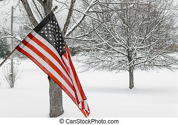 American Flag with snowy background