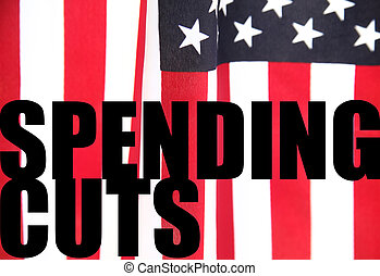 American flag with spending cuts