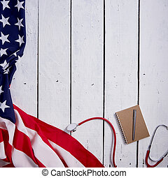 American Flag With Stethoscope On Table