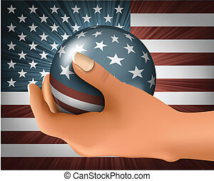 American flag with the ball