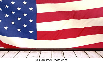 American flag with wooden tribune