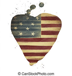 American flag yeart shaped. Vintage styled