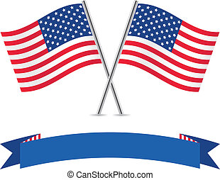 American flags and banner.
