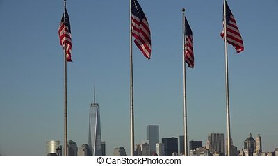 American Flags and City Skyline
