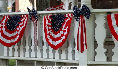 American Flags and Gazebo - American flags draped on the...