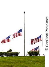 American Flags at Half Mast