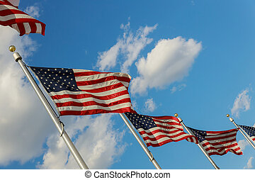 American Flags blowing in the wind at in District of at Washington DC USA