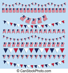 Collection of American flag bunting and banners