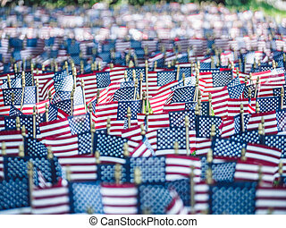 American flags close-up