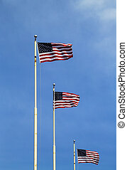 American flags flying high