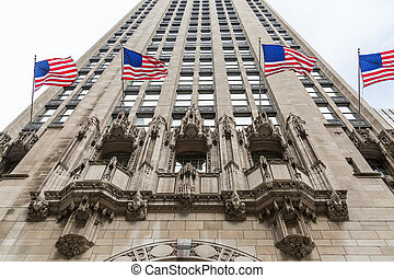 American Flags Flying on Chicago Skyscraper
