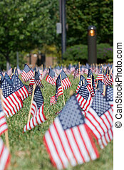 American flags for Memorial Day - Small flags of the United...