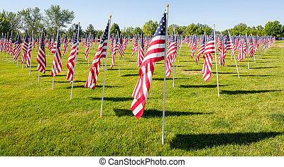 American flags in a city park waving in the wind