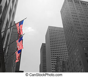 American flags in New York City - View of Fifth Avenue and...