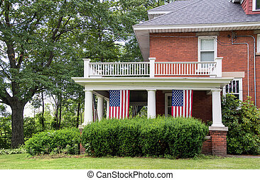 American flags in old house
