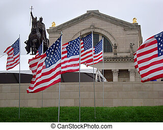 Thousands of American Flags surround the top of art hill in Forest Park in St. Louis, Missouri in rememberance of September 11th on the 13th anniversary of the 9/11 attack. In front of Art Museum and equestrian statue of Saint Louis.