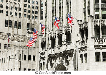 Chicago, Illinois - American flags in Tribune Tower....