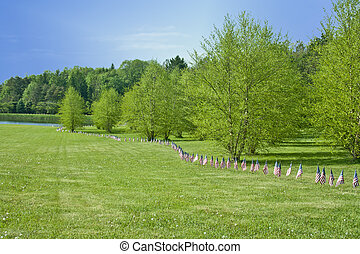 American Flags Line The Park On Memorial Day