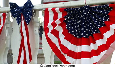 American Flags On A Gazebo - Patriotic flags and bows...