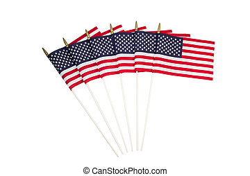 American Flags on White background